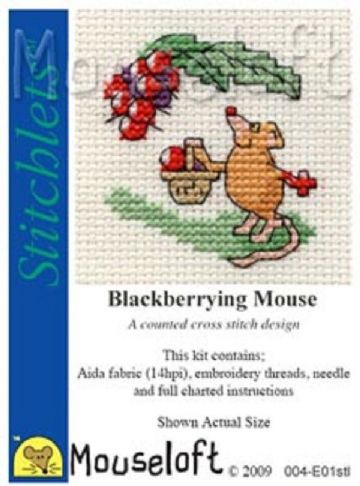 Mouseloft Stitchlets   Blackberrying Mouse
